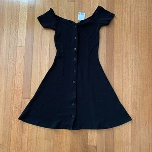 Urban outfitters Black Button Swing Dress